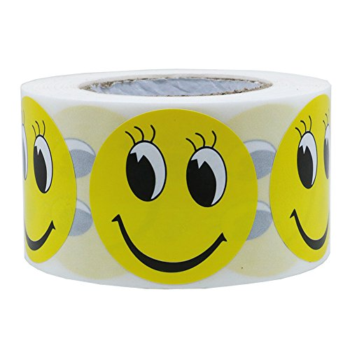 Hybsk Yellow Smiley Face with Eyelash Happy Stickers 1.5 Round Teacher Labels 500 Total Per Roll
