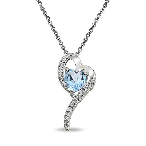 (Sterling Silver Blue Topaz Heart Slide Pendant Necklace with Cubic Zirconia Accents)