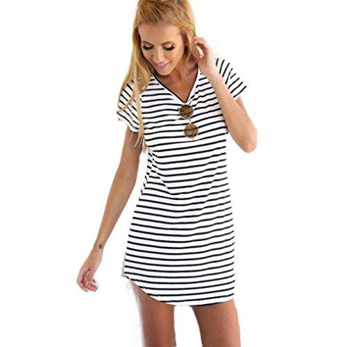 WINWINTOM Las mujeres con cuello redondo de manga corta a rayas floja mini vestido