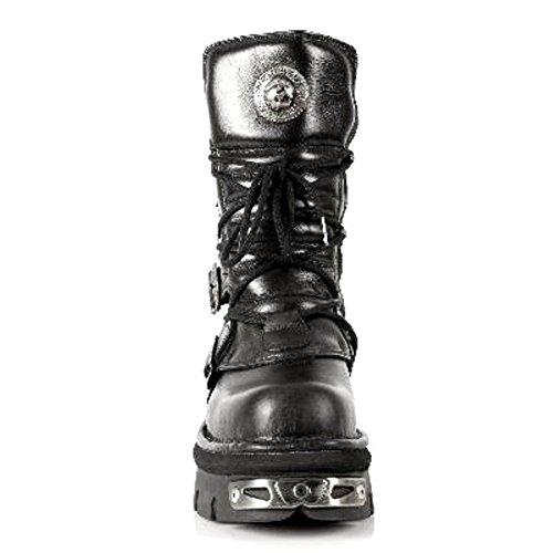 S4 Emo und Goth Weise Stiefel 373 Biker 46 Leder Art M Metallic 36 New NEWROCK aus Rock EU schwarzem wB76qIZ