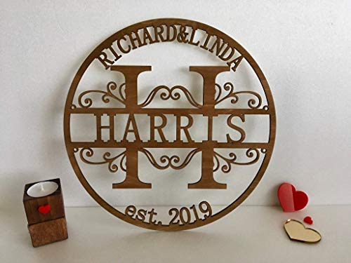 (Custom Wood Family Last Name Sign Wooden Wedding Gift Initial Split Letter Laser Cut First Names Est Year Established Date Personalized Monogram Home Decor Front Door Hanger Wreath Housewarming Gift)