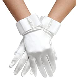 Elinadress Women's Wrist Length Bridal Gloves With Pearls For Wedding Dress Finger Gloves White