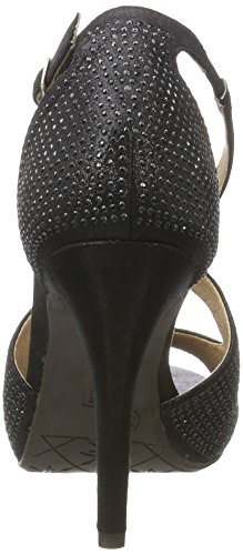 XTI Black Metallic Textile Ladies Shoes, Zapatos de Tacón para Mujer Negro (Black)