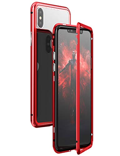 iPhone Xs Max Case KumWum Slim Aluminum Metal Bumper Case Magnetic Adsorption Tempered Glass Back Cover Phone Case for iPhone Xs Max (iPhone Xs Max, Clear Back+Red Frame)