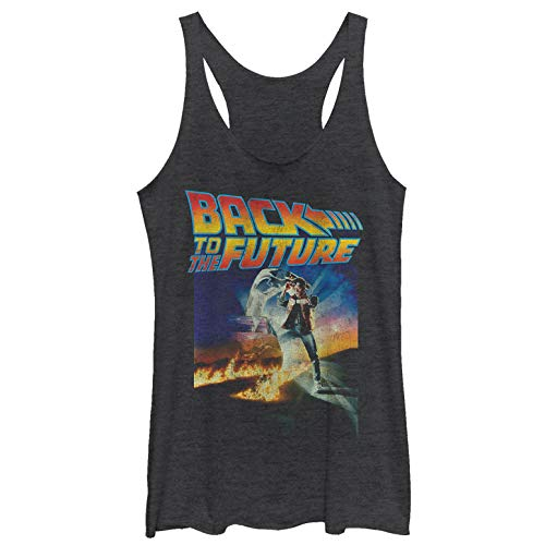 Jennifer Back To The Future Costume (Back to The Future Women's Retro Marty McFly Poster Black Heather Racerback Tank)