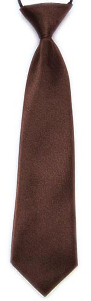 New Boys Pre-Tied Ties. Satin Plain Coloured Childrens Boys Ties. Elasticated. 22 Colours Available. Handmade. Wedding, School, Fashion *UK Seller* FASHION (BROWN)