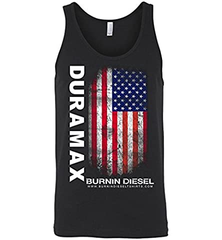Mens Duramax Diesel Shirt Tank Top With Distressed USA Flag (Men Diesel Top)