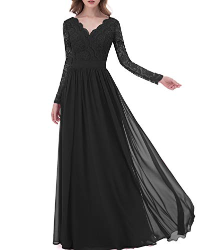 3c2f8dcd8c Libaosha Women Chiffon Gowns Long Sleeves Lace Bridesmaid Wedding Party  Dresses (US2
