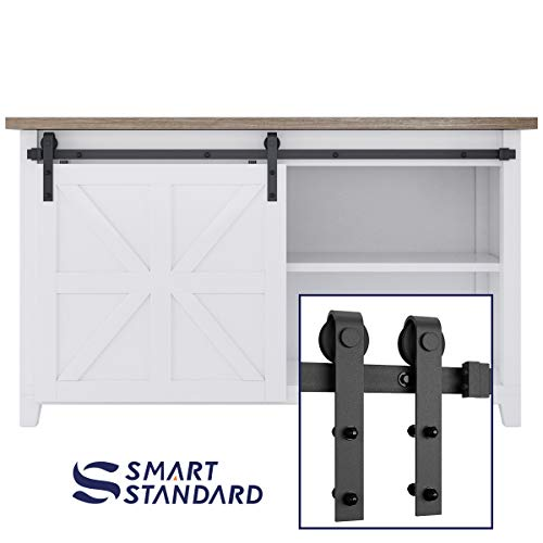 SMARTSTANDARD 5FT Mini Sliding Barn Door Cabinet Hardware Kit for Cabinet TV Stand Closet, Black, One-Piece Track Rail, Easy to Install, Fit 30