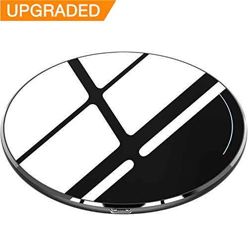 TOZO for iPhone X Wireless Charger [Upgraded], [Ultra Thin] Aviation Aluminum [Sleep-friendly] Fast Charging Pad for iPhone X/10/8/8 Plus, Samsung Galaxy S8, S8+, Note 8 [Black] - NO AC Adapter Discount Charger Plates