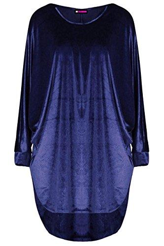 Sleeve Velour 21FASHION Lo Oversized Baggy Batwing Hi DRESS NAVY BAGGY Dress Ladies Velvet Long Womens Top VELOUR VELVET p4rUY4