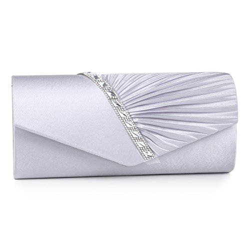 Damara Womens Pleated Crystal-Studded Satin Handbag Evening Clutch,Silver (Pleated Evening Bag)