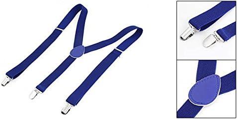 LUOYIM AO Adult Adjustable Metal Clamp Elasticated Suspenders Braces Dark Blue