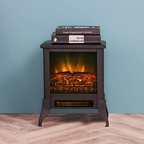 """LOKATSE HOME 14"""" Electric Fireplace Space Stove Heater Freestanding with Realistic Flame, 2 Heat Modes, 1400W Ultra Strong Power, Overheating Safety Protection, 14 inch"""