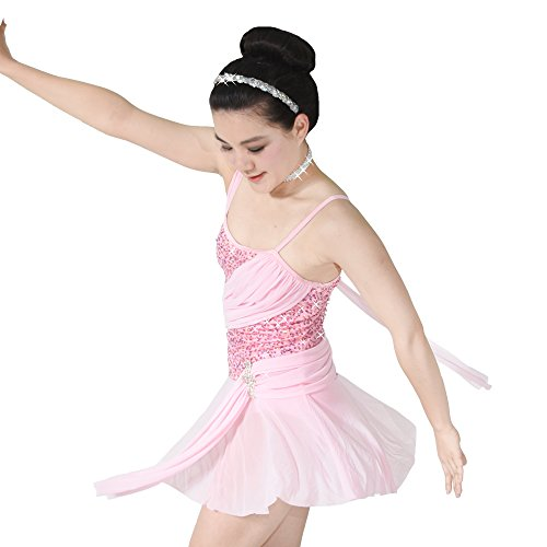 [MiDee Contemporary Costume Lyrical Dance Dress Sequins Sweetheart Neck with Flies (SA, Pink)] (Dance Costumes For Hip Hop Competitions)