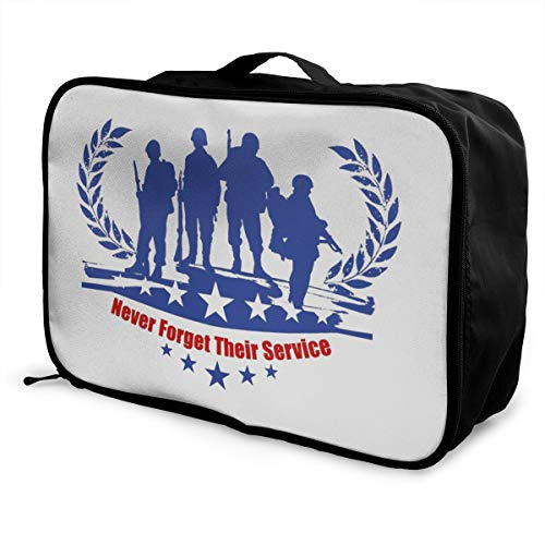 Veterans Day Never Forget Lightweight Large Capacity Portable Luggage Bag Fashion Travel Duffel Bag