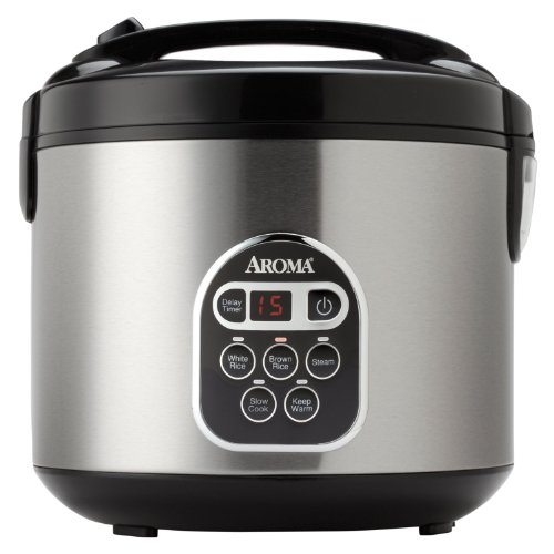 Aroma Professional Rice Cooker with Food Steamer, Silver ()