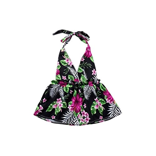 Efaster Newborn Baby Girls Floral Print Strap Swimsuit Swimwear Dress Casual Clothes