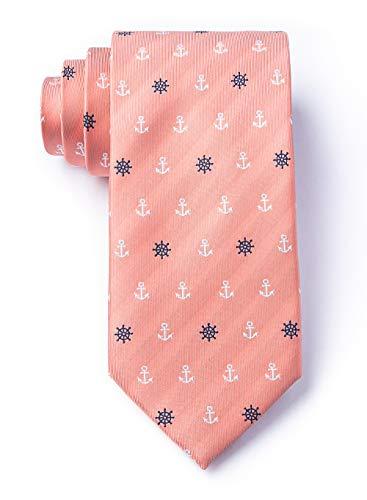 Nautical Coral Anchor - Men's Nautical Anchors & Ships Wheels Microfiber XL Extra Long Tie Necktie (Coral)