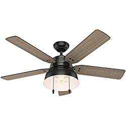 "Hunter 59307 Mill Valley 52"" Ceiling Fan with Light, Large, Matte Black"