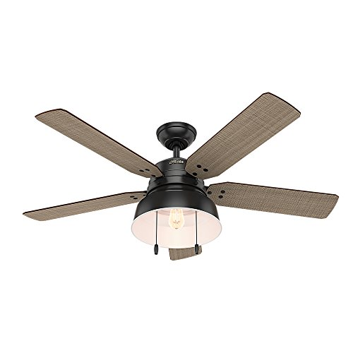 Hunter 59307 Mill Valley 52 Ceiling Fan with Light, Large, Matte Black