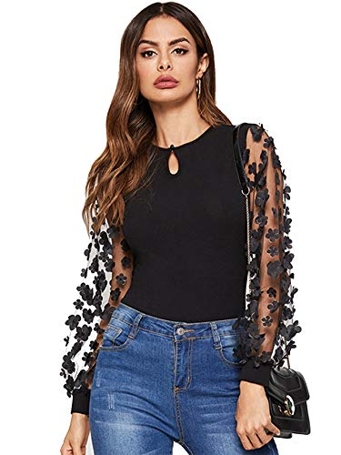 Romwe Women's Mesh Long Sleeve 3D Embroidered Floral Keyhole Front Blouse Shirt Top Black S