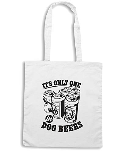 Speed Shirt Borsa Shopper Bianca FUN0229 DOG BEERS