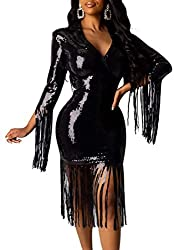 Black Colour Sequin Dress Deep V Neck & Long Sleeve