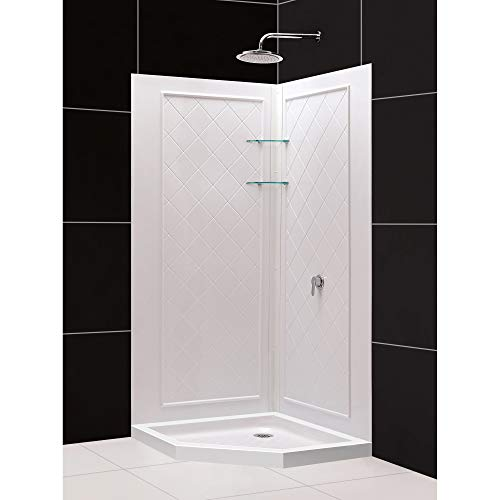 DreamLine Slimline x 36 in. Neo-Angle Base and QWALL-4 Shower Backwall Kit, DL-6044C-01, 36