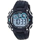 Timex Men's TW5M27300 Big Digit DGTL 48mm Black/Gray/Blue Silicone Strap Watch