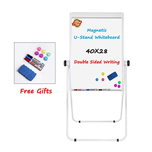 Stand White Board - 40x28 Magnetic Dry Erase Board, Flip Chart Pad Double Sided/whiteboard Easel, Height Adjustable & 360 Degree Rotating W/White Board Easel, White -