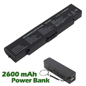 Battpit Bateria de repuesto para portátiles Sony VAIO VGN-FS31B (4400 mah) con 2600mAh Banco de energía / batería externa (negro) para Smartphone