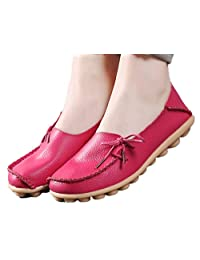 WenHong Women's Driving Shoes Cowhide Leather Lace-Up Loafers Boat Shoes Flats
