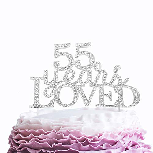(55 Years Loved Crystal Cake Topper For 55 Years Birthday Or 55th Wedding Anniversary Rhinestone Metal Party Decoration Silver)
