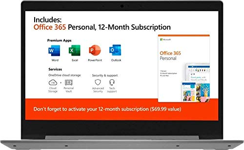 "Lenovo IdeaPad 14"" Laptop Computer for Business Student/ AMD A6-9220e up to 2.4GHz/ 4GB DDR4/ 64GB eMMC/ Microsoft Office 365/ Webcam/ Windows 10/ iPuzzle MousePad/ Online Class Ready"