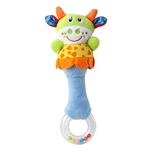 (Baby Kids Plush Stuffed Rattles Teether Doll Puppet Toy Hand Bell Shaker Grab & Spin Musical Sound Ball Toy Gift)