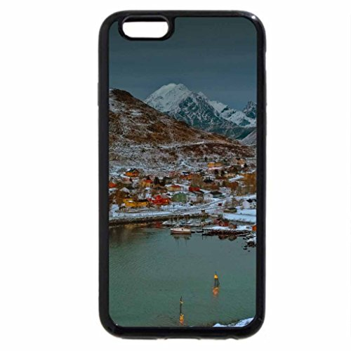 iPhone 6S Case, iPhone 6 Case (Black & White) - lovely norwegian town at dusk