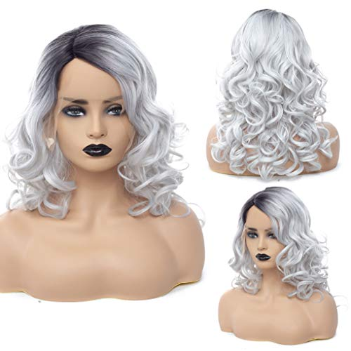 Cool2day Short Wavy Ombre Wig Omber White Wig Black Roots Synthetic Lace Front Wig for Women Milky White Wig Bob Heat Resistant Fiber