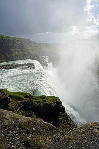 Gullfoss Waterfall - Home Comforts Peel-n-Stick Poster of Waterfall Gullfoss Force of Nature Iceland Enormous Vivid Imagery Poster 24 x 16 Adhesive Sticker Poster Print