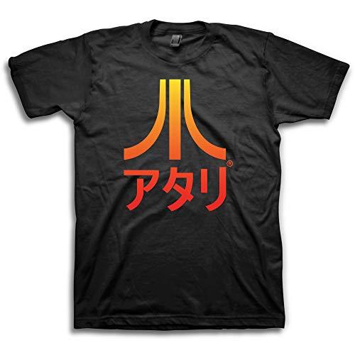 Atari Mens Classic Gaming Shirt - Throwback Vintage Video Game Tee (Black Kanji, ()