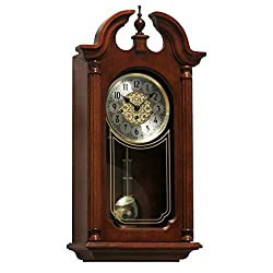 Qwirly Hopewell Mechanical Regulator Wall Clock #70820N90341 by Hermle - Elegant Antique Style Wood Clock with Pendulum and Chimes
