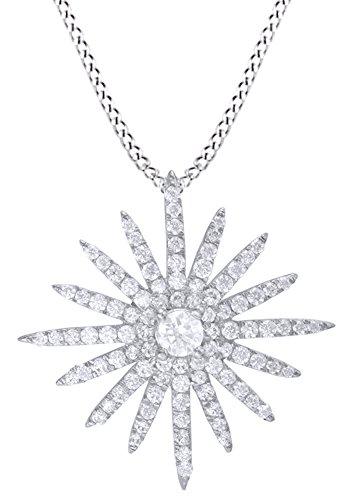 AFFY White Natural Diamond Sunburst Pendant Necklace in 14K Solid White Gold (0.62 Ct)