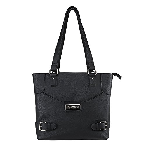 [Concealed Carry Purse - Conceal Double Buckle Tote by VISM (Black)] (Double Shoulder Tote)