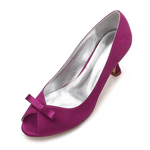 L@YC Frauen-Arbeits-Plattform-Hochzeits-Gericht Beschuht Bowknot-Pumpen-Stilett-Niedrige Mittlere Kätzchen-Ferse-Größe 3-8 Purple