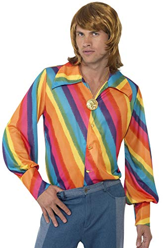 Smiffys Men's color Shirt, Rainbow color Shirt, 70 Disco, Serious Fun, Size L, ()
