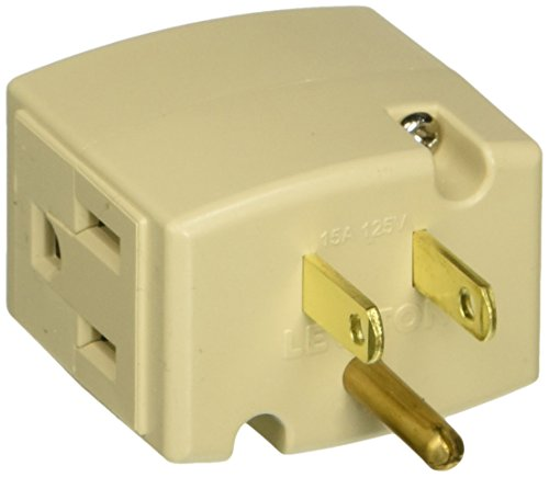 Adapter Ivory (Leviton 692-I 15-Amp 125-volt Triple Cube Grounding Adapter, Ivory)