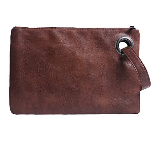 (Claystyle Women Lady Fashion Clutch Bag Zipper Envelope Purse Handbag Evening Party Bag Brown)