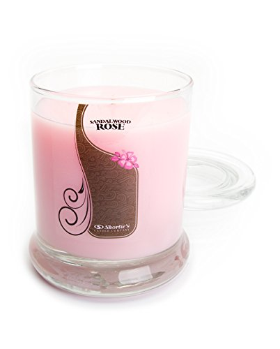 Sandalwood Rose Candle - 10 Oz. Highly Scented Pink Jar Candle - Earth Candles Collection
