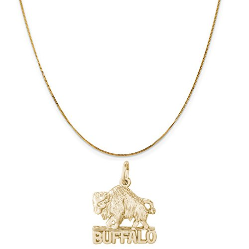 14k Gold Buffalo Charm (Rembrandt Charms 14K Yellow Gold Buffalo, New York Charm on a Curb Chain Necklace, 18