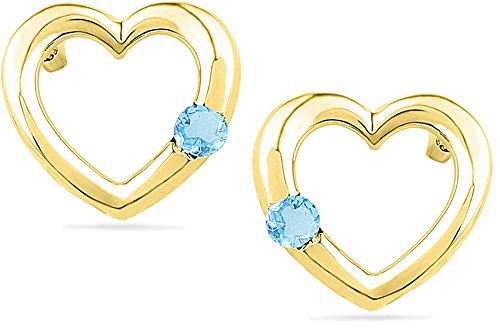 Blue Topaz 10kt Ring - Jewels By Lux 10kt Yellow Gold Womens Round Lab-Created Blue Topaz Heart Love Fashion Earrings 1/10 Cttw